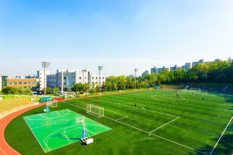 Universitair Kunstmatig het Gras Atletisch Gebied H van Korea stock foto