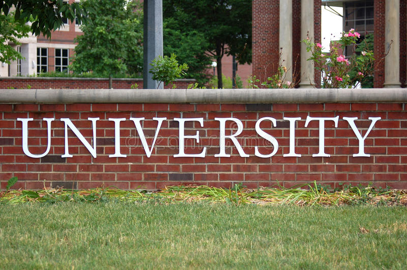 Universitair woord in campus stock foto
