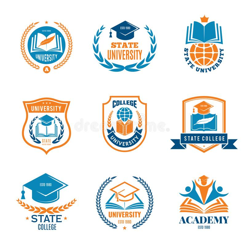 Universitaire kentekens Van de het embleemuniversiteit school van de bedrijfsidentiteitskwaliteit het vectorembleem stock illustratie