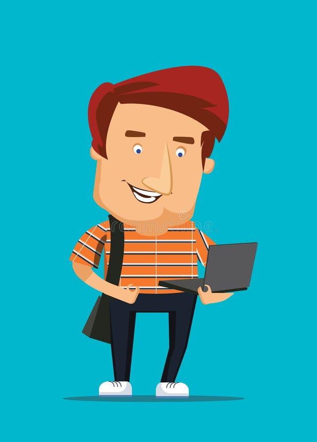 Universitaire student die laptop computerillustratie bekijken vector illustratie