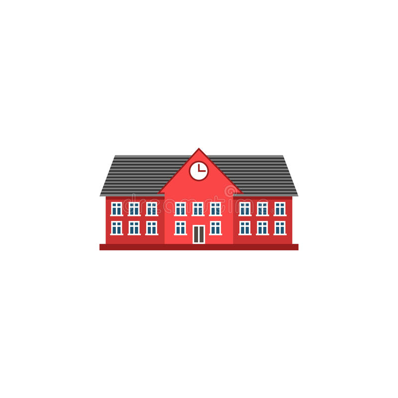 Universitaire vlakke pictogram, school en de bouw royalty-vrije illustratie