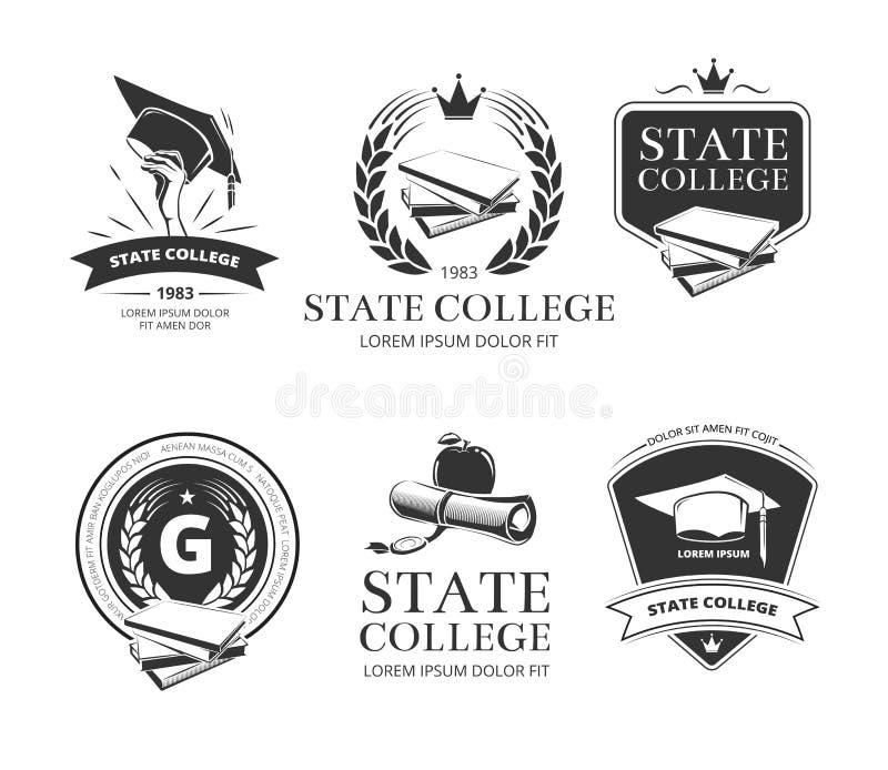 Universiteit, academie, hogeschool en school vectoremblemen, etiketten, kentekens vector illustratie