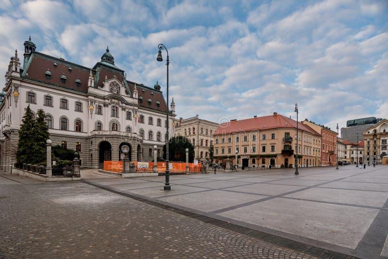 Universiteit in het centrum van Ljubljana, Slovenië stock foto's