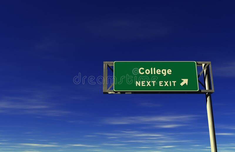 Universiteit - het Teken van de Uitgang van de Snelweg royalty-vrije illustratie