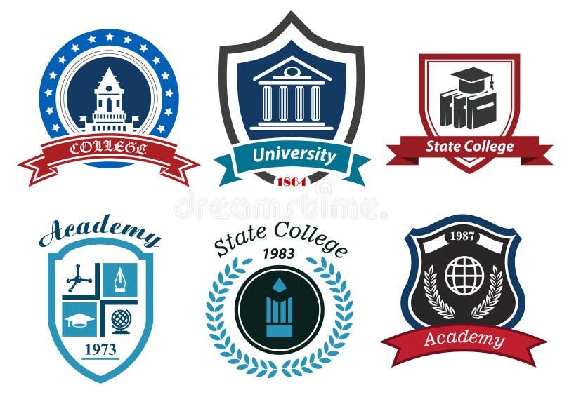 Universiteit, hogeschool en academie heraldische emblemen stock illustratie