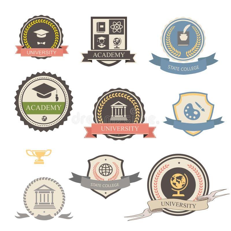 Universiteit, hogeschool en academie heraldische emblemen royalty-vrije illustratie