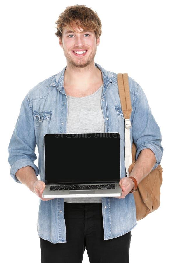 Universiteit/universitaire student die laptop het scherm tonen stock afbeeldingen