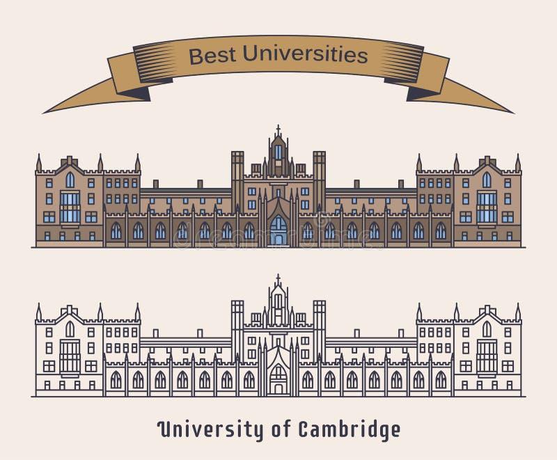 Universiteit van de bouw van Cambridge Architectuur royalty-vrije illustratie