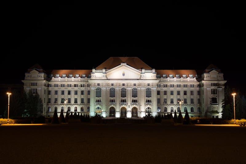 Universiteit Van Debrecen Bij Nacht Stock Foto