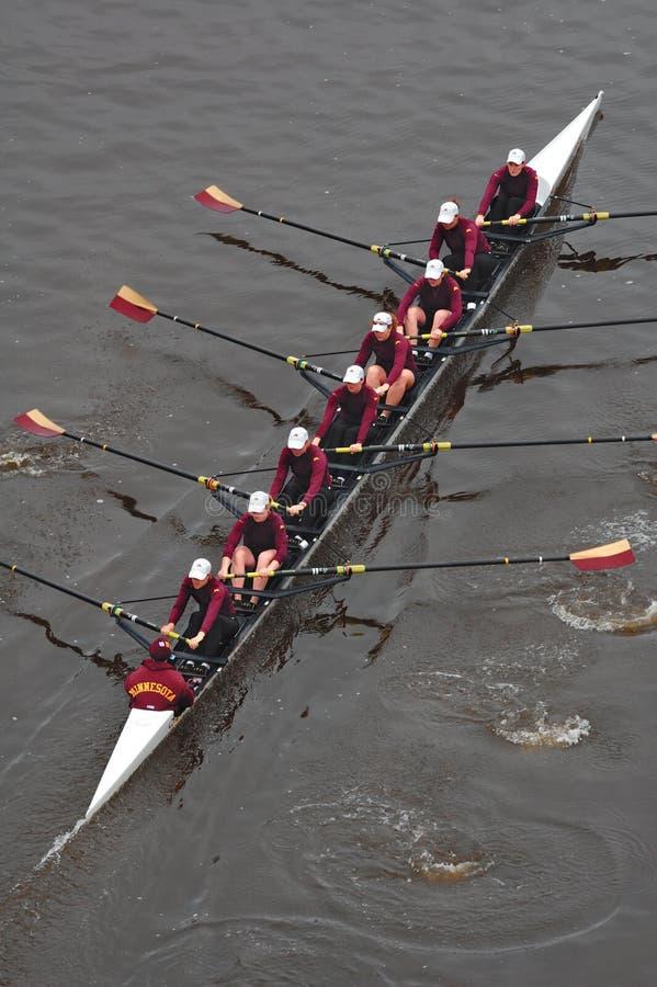 Universiteit van het Roeiende Team van Minnesota van hierboven royalty-vrije stock afbeeldingen