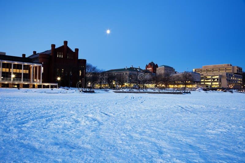 Universiteit van Wisconsin - van bevroren Meer Mendota wordt gezien die stock foto's