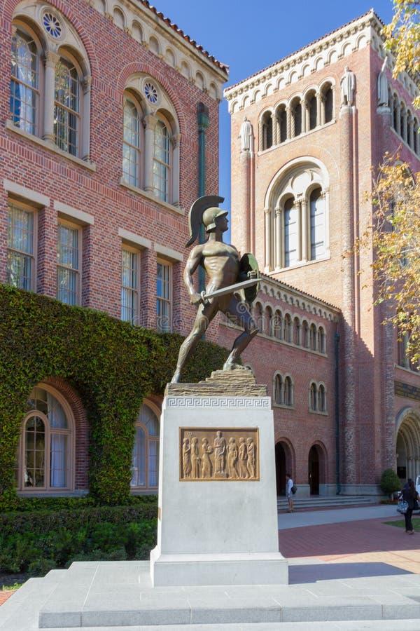 Universitet av den sydliga Kalifornien Tommy Trojan statyn royaltyfri foto