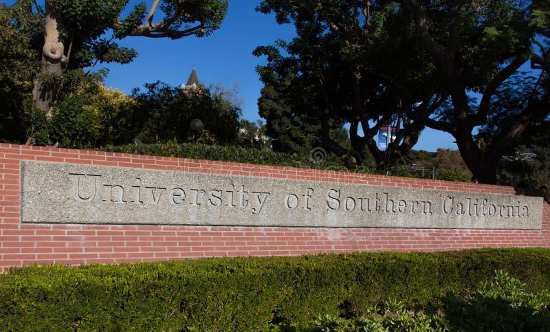 Universitet av det sydliga Kalifornien ingångstecknet arkivfoton