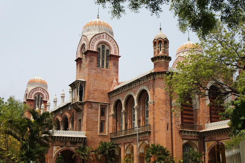 Universitet av Madras i Chennai, Tamil Nadu, Indien royaltyfria foton
