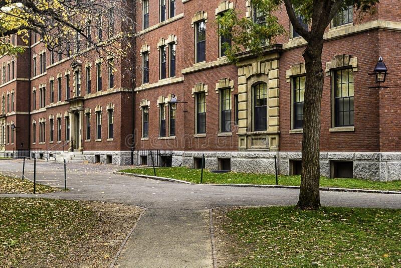 Universitetbyggnad för röd tegelsten på den Harvard gården, Boston, USA fotografering för bildbyråer