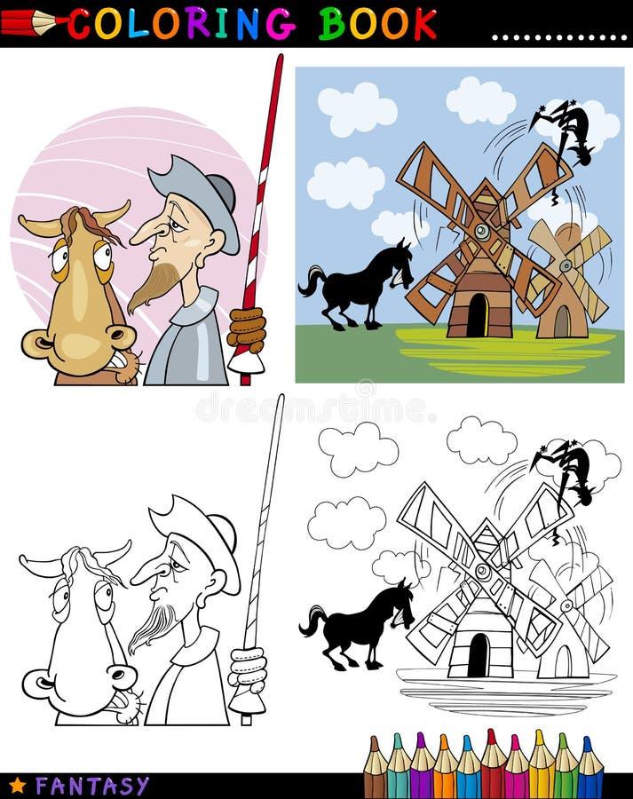 Universitetslärare Quixote för färgläggning royaltyfri illustrationer