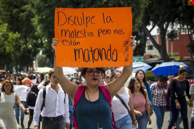 Universities are manifested by femicide of Mara Fernanda Castilla Miranda. Universities of BUAP and UPAEP demonstrated on Monday, September 18 in the city of royalty free stock photography