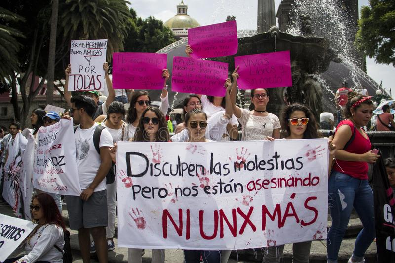 Universities are manifested by femicide of Mara Fernanda Castilla Miranda. Universities of BUAP and UPAEP demonstrated on Monday, September 18 in the city of stock images