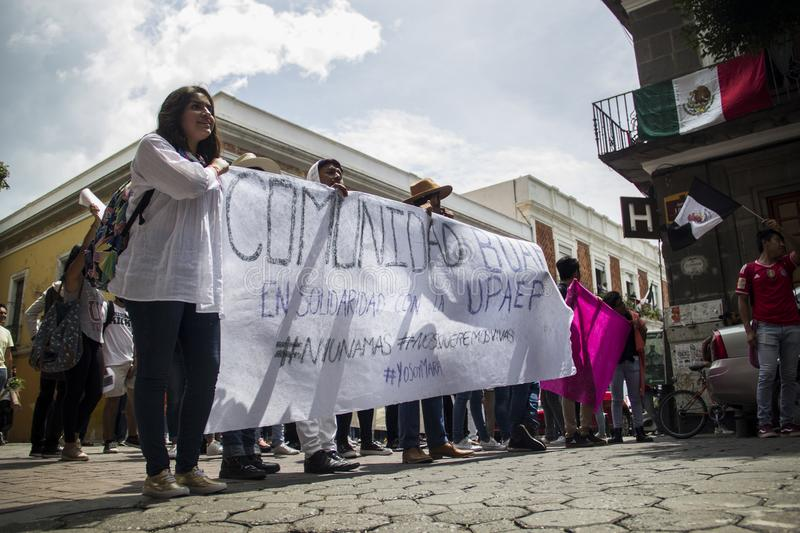 Universities are manifested by femicide of Mara Fernanda Castilla Miranda. Universities of BUAP and UPAEP demonstrated on Monday, September 18 in the city of stock photos