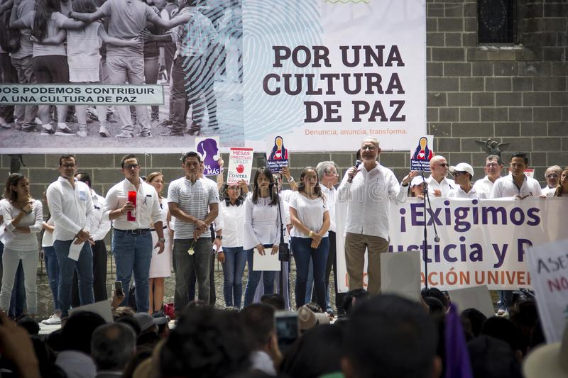 Universities are manifested by femicide of Mara Fernanda Castilla Miranda. Universities of BUAP and UPAEP demonstrated on Monday, September 18 in the city of royalty free stock photos