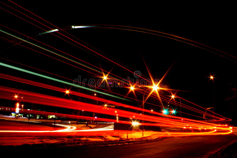 University Arch at Night. The University arch at night. A bus passed by to create an interesting light blur stock image