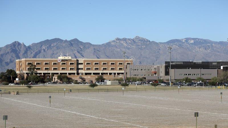 The University of Arizona Medical Center. TUCSON, AZ - NOVEMBER 25, 2014: The University of Arizona Medical Center against Santa Catalina mountain range and blue stock images