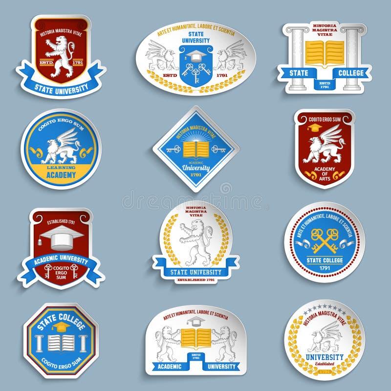 University badges pictograms set vector illustration