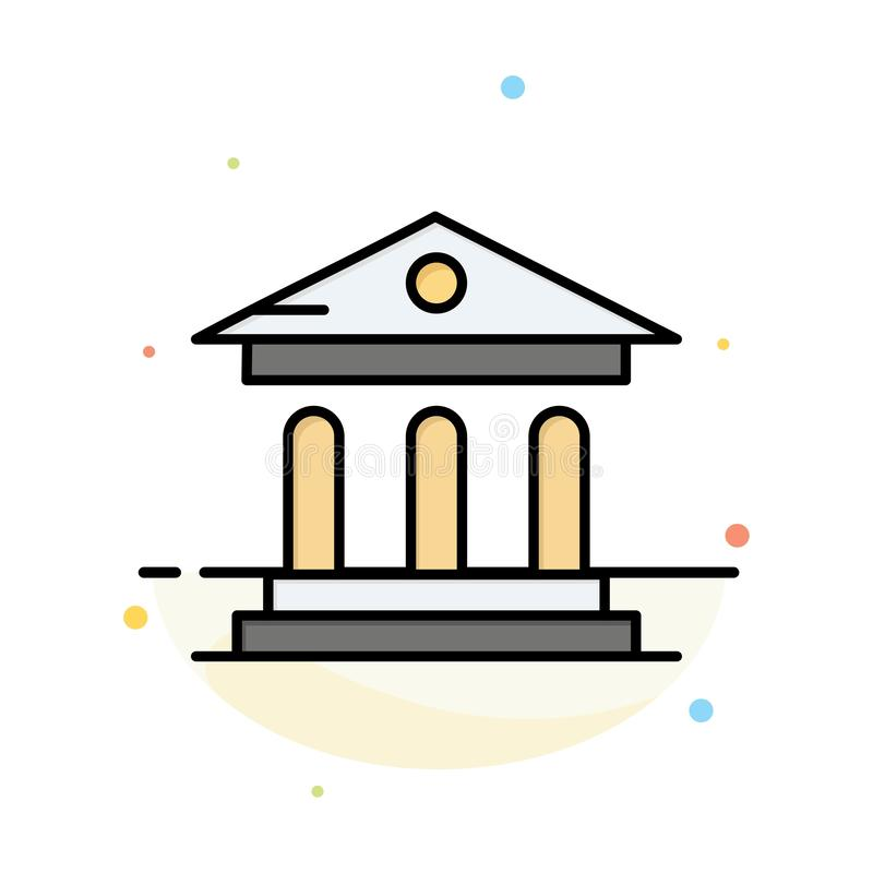 University, Bank, Campus, Court Abstract Flat Color Icon Template royalty free illustration