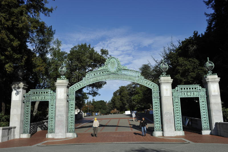 University of Berkeley, Sather Entrance Gate, USA stock photography