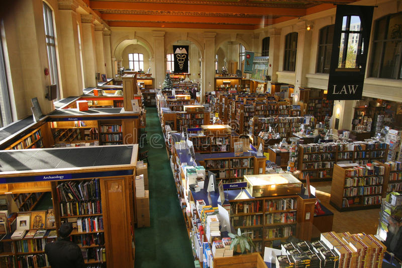 University bookstore interior. The University of Toronto's bookstore is located inside an ornate historic building that used to be a library stock photography