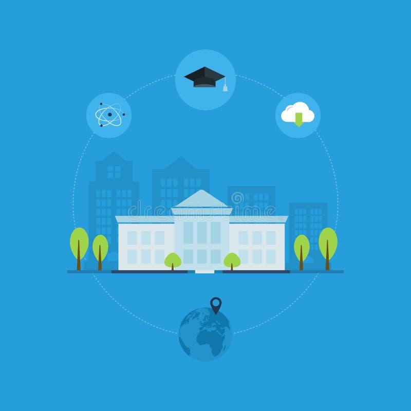 University building icon. School and university building icon. Vector illustration stock illustration