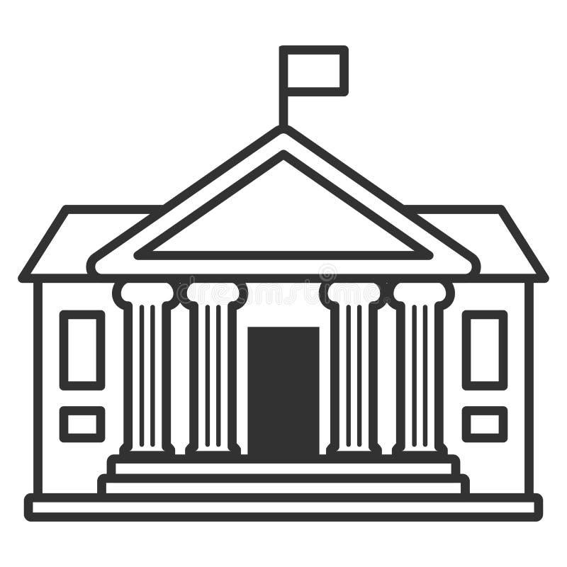 Free University Building Outline Flat Icon On White Stock Photos - 126785933