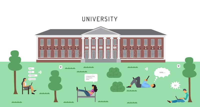 University building, students sit on the lawn in front of the main building. And learn, do educational projects using laptops and smartphones, relax about royalty free illustration