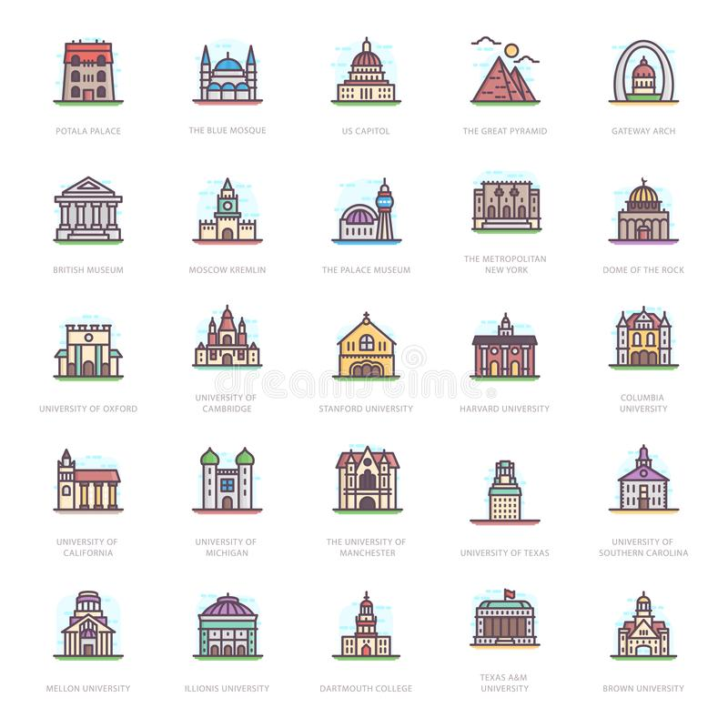 University Buildings Flat Icons. Let`s take a glance at a pack of universities buildings flat icons where you can find captivating and editable visual vectors vector illustration