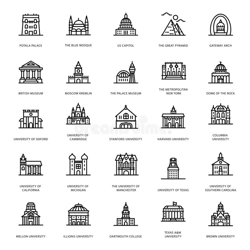 University Buildings Line Icons. Let`s take a glance at a pack of universities buildings line icons where you can find captivating and editable visual vectors stock illustration