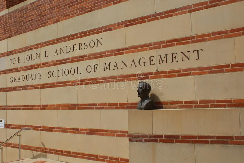 UCLA John E Anderson Graduate School of Management sign and bust in Los Angeles. stock photo