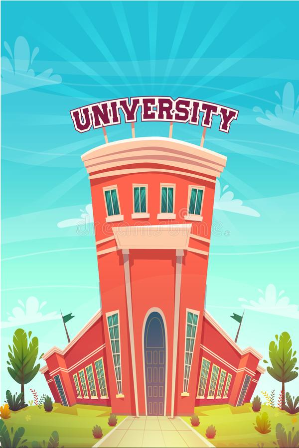 University campus building hall education for students cartoon vector illustration , brotherhood smart nerd classes hipster young. People profession choice royalty free illustration