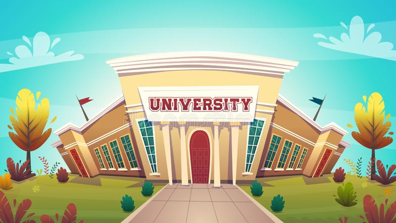 University campus building hall education for students cartoon vector illustration , brotherhood smart nerd classes hipster young. People profession choice stock illustration