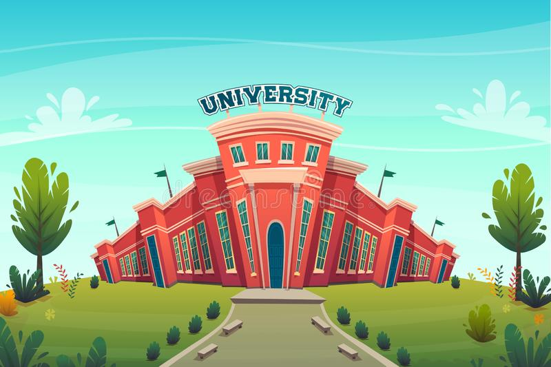 University campus building hall education for students cartoon vector illustration , brotherhood smart nerd classes hipster young. People profession choice vector illustration