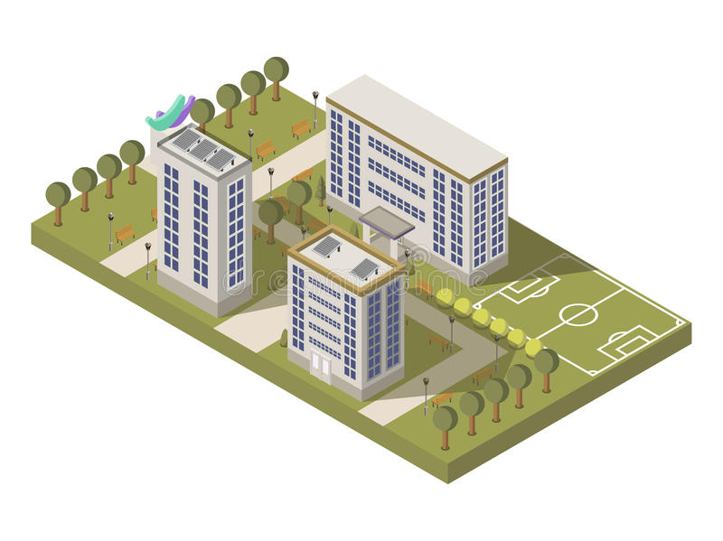 University Campus Composition. Isometric university campus composition with park and sports ground vector illustration royalty free illustration