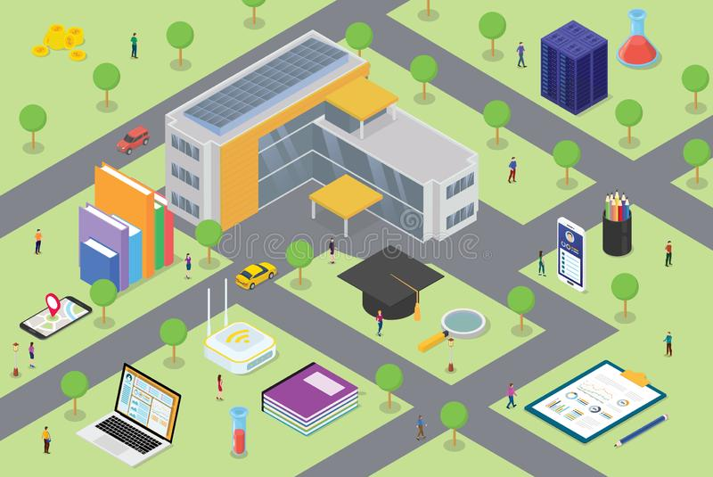 University campus life concept with big building and some related icon in education with some student on campus area with modern. Isometric style - vector royalty free illustration