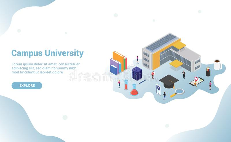 University campus life concept with big building and some related icon in education for website template landing homepage with. Modern isometric style - vector stock illustration