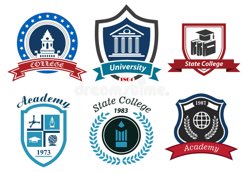University, college and academy heraldic emblems stock illustration