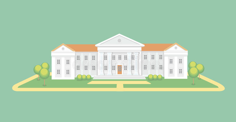 University or college building. Campus graduation university, Education vector illustration. University or college building. High school. Campus graduation royalty free illustration