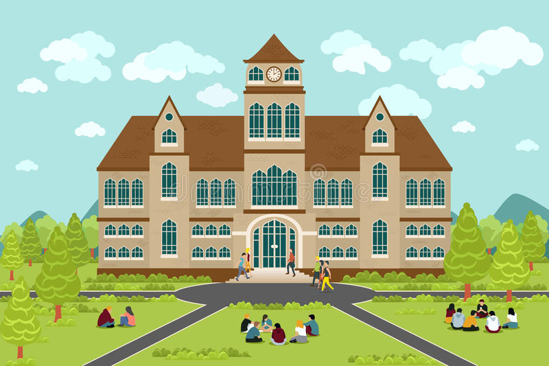 University or college building stock illustration
