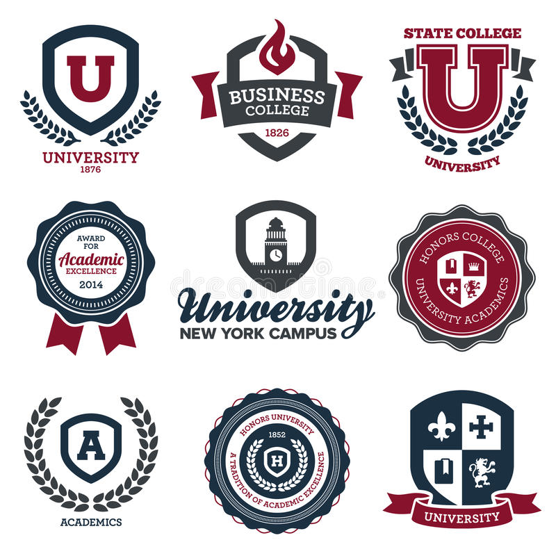 University and college crests vector illustration