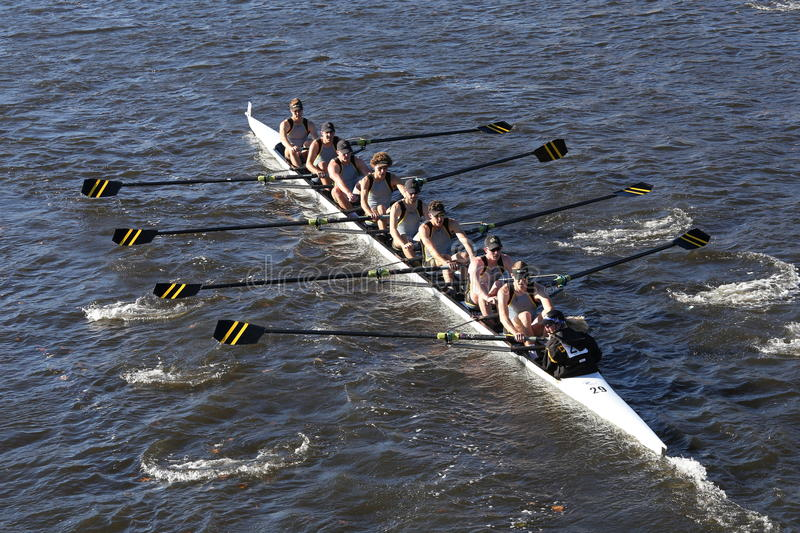 University of Colorado Boulder races in the Head of Charles Regatta Men`s College Eights stock images