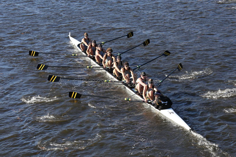 University of Colorado Boulder races in the Head of Charles Regatta Men's College Eights stock photo