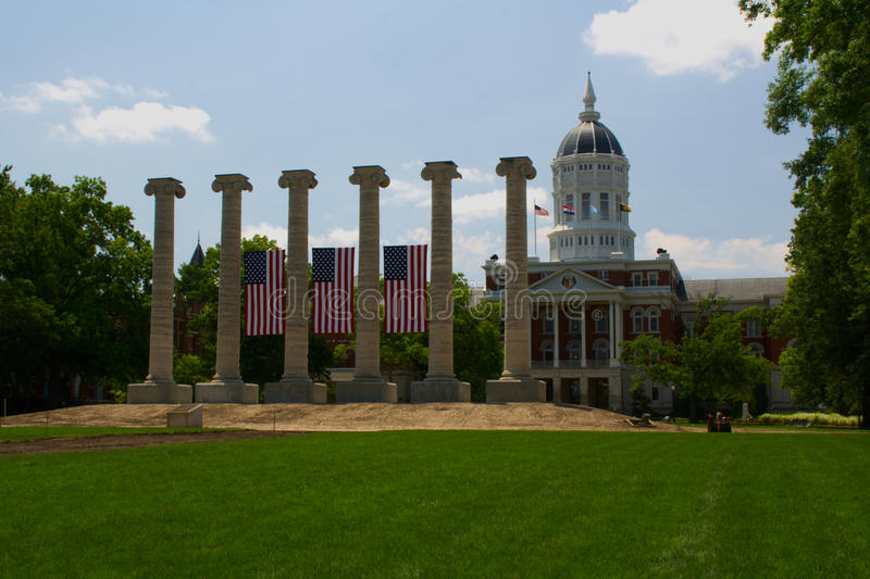 University of Missouri, Columbia. Francis Quadrangle, with Jesse Hall and the Columns, six Ionic columns that remained after Academic Hall burned down in 1892 stock image