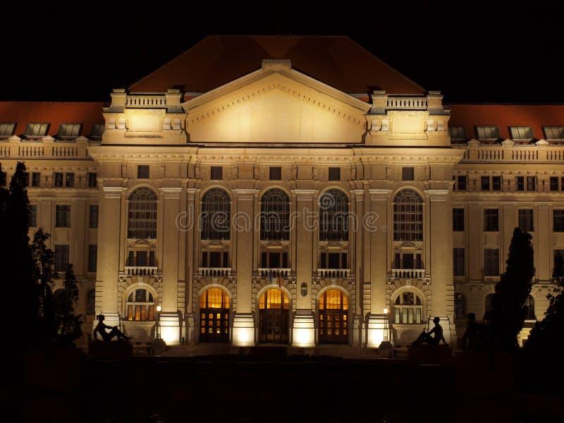 University Of Debrecen At Night Royalty Free Stock Photos